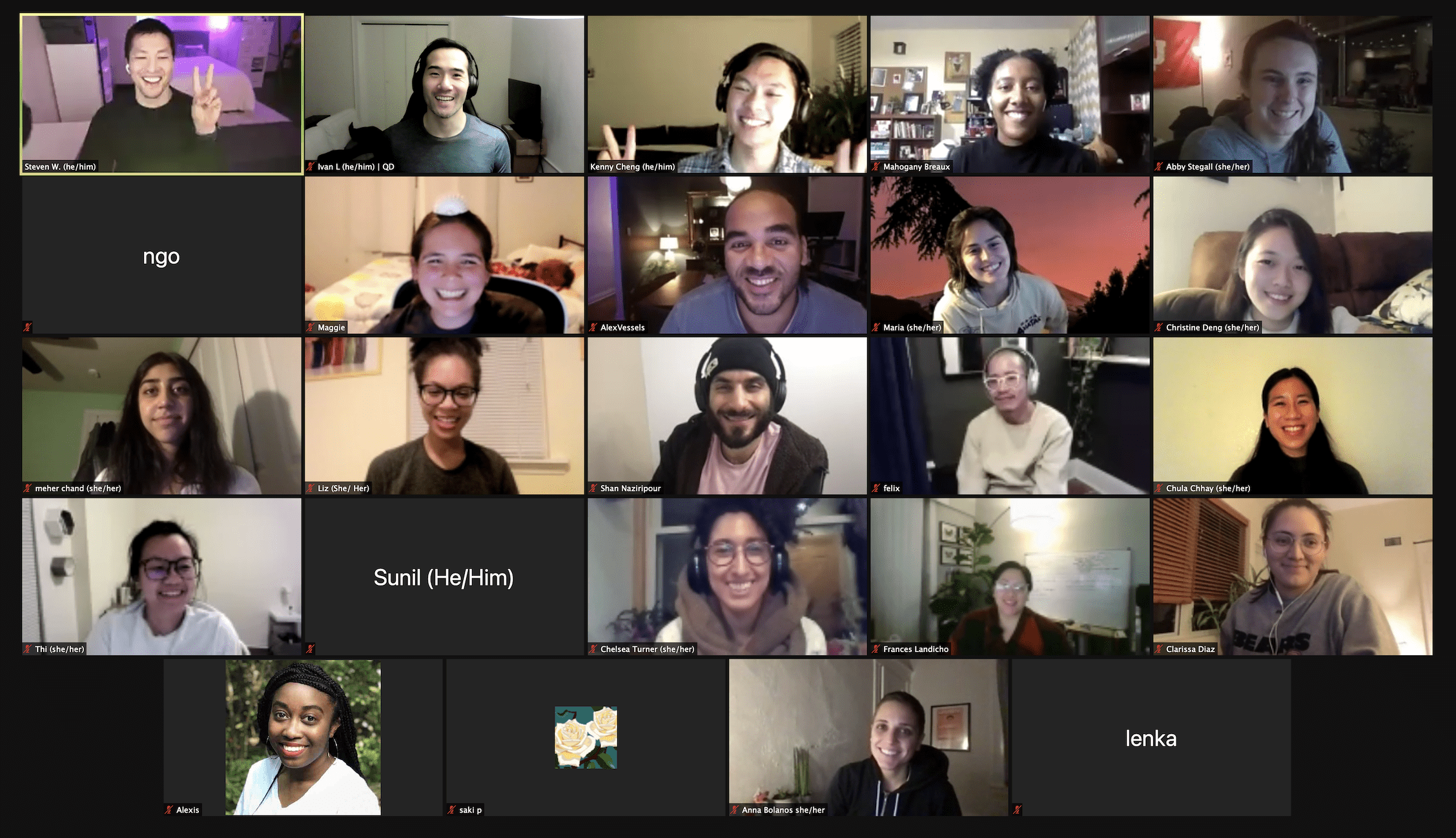 Grid of 24 people in a video call.